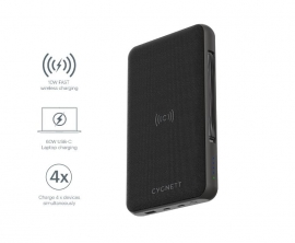 CYGNETT 27000 mAh USB-C Laptop and Wireless Power Bank - Black (CY3113PBCHE) Charge 3 devices at once, 60W USB-C Power Delivery,