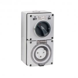 4C | Combination Switched socket 3 Round Pin IP66 250V 20A (040.000.0214)