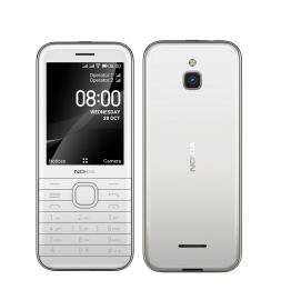 Nokia 8000 4G White 2.8' Screen,4GB Memory, 512 MB RAM,  2MP Rear Camera, Dual SIM, 1500mAh Removeable Battery, WiFi Support (16LIOW21A13)