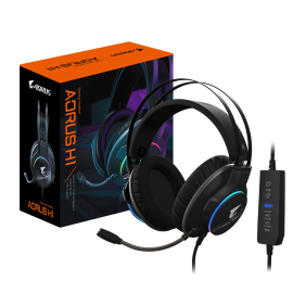 Gigatyte AORUS H1 Gaming Headset, Virtual 7.1 Channel, 50mm Drivers, RGB, In-Line Audio Controls, ENC Microphone (AORUS H1)