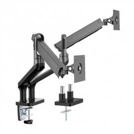 Brateck Dual Monitor Premium Aluminum Spring-Assisted Monitor Arm Fit Most 17'-32' Flat Panel and Curved Monitors Up to 9kg per screen (Black) (LDT50-C024-B)