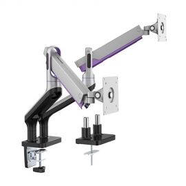 Brateck Dual Monitor Premium Aluminum Spring-Assisted Monitor Arm Fit Most 17'-32'  Flat Panel and Curved Monitors Up to 9kg per screen (Sliver) (LDT50-C024-S)