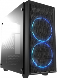 Casecom CMC-72 Micro ATX Tower Side Transparent Temper glass 2x12CM Blue LED FANs, with 550W PSU PCIE 6+2 pins Gamming case (CMC-72)