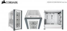 Corsair 5000X RGB TG E-ATX, ATX, USB Type-C, 3x 120mm TGB Front, Radiator 360mm. 7+2 PCI, 4x 2.5' SSD, 2x 3.5' HDD. VGA 420mm. White Tower Case (CC-9011213-WW)