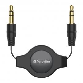 Verbatim 3.5mm Aux Audio Cable Retractable 75cm - Black (66573)