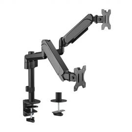 Brateck Dual Monitors Pole-Mounted Gas Spring Monitor Arm Fit Most 17'-32' Monitors Up to 9kg per screen VESA 75x75/100x100 (LDT48-C024)