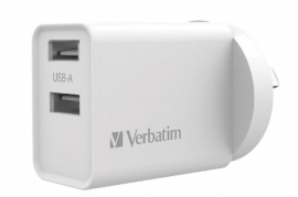 Verbatim USB Charger Dual Port 2.4A - White Twin Port Wall Charger (66593)