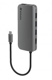 Verbatim USB-C Hub with HDMI, RJ45, SD, microSD, 3x USB A, USB-C PD 100W - Space Grey (66604)