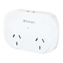 Verbatim Dual USB Surge Protected with Double Adaptor - White 2x USB Charger Outlet,  66595