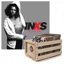 Crosley Record Storage Crate & INXS THE VERY BEST - DOUBLE VINYL ALBUM Bundle UM-5788706-B