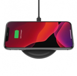 Belkin Boost 15W Wireless Charging Pad with 24W QC 3.0 Wall Charger Black- Qi certified, Case compatible, LED light indicates WIA002AUBK