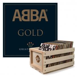 Crosley Record Storage Crate & ABBA GOLD - DOUBLE VINYL ALBUM Bundle UM-5351106-B