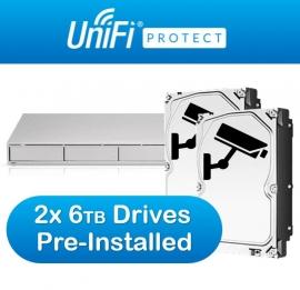 Ubiquiti UniFi Protect Network Video Recorder - 4x 3.5' HD Bays - Unifi Protect Pre Installed - 2x 6TB Surveillance Drives Pre-Installed UNVR-6TB-R