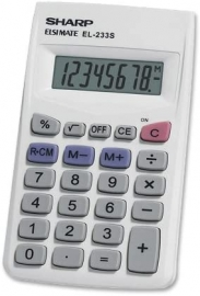 Sharp 8 DIGIT POCKET CALCULATOR - WHITE EL233SB