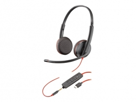 PLANTRONICS BLACKWIRE C3225 UC STEREO USB-A & 3.5MM CORDED HEADSET - PROMO ENDS 26 JUN 21