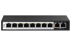 D-LINK 10-Port 10/100Mbps PoE Switch with 8 Long Reach PoE Ports and 2 Uplink Ports. PoE budget 96W DES-F1010P-E