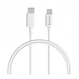 Verbatim CHARGE SYNC LIGHTNING TO USB-C CABLE 1M - WHITE 66582