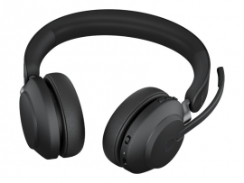 JABRA WIRELESS EVOLVE2 65 UC STEREO BLUETOOTH HEADSET W/CHARGING STAND,USB-A,LINK 380A,BLK 26599-989-989