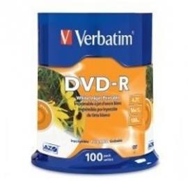 Verbatim Dvd-r 4.7gb 16x White Inkjet 100pk Spindle 95153