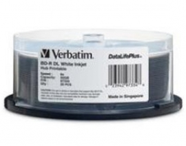 Verbatim  Bd-r Dl 50gb 6x Wide White Inkjet 25pk Spindle 97334