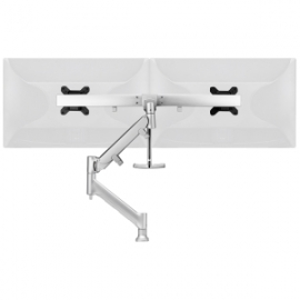 Atdec DUAL (RAIL) DESK MOUNT - SILVER - UP TO 27IN - BUILT-IN ARM ROTATION LIMITER AWMS-RHXB-H-S