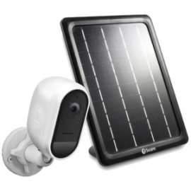 Swann Wire-Free White 1080p Security Camera with Solar Charging Panel & Outdoor Stand (SWIFI-CAMWSOLSTD-GL)