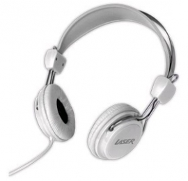 Laser Ao-headk-wt Headphones Stereo Kids Friendly Colourful White