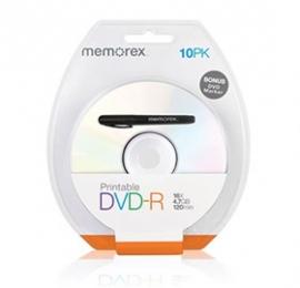 Memorex Printable White Top Dvd-r 4.7g 16x 10pcs/ Pack With Bonus Mark Pen Bmdintmemorexdvdr10