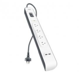 Belkin 4 Outlet Surge Protector With 2m Cord With 2 Usb Ports (2.4a) Bsv401au2m