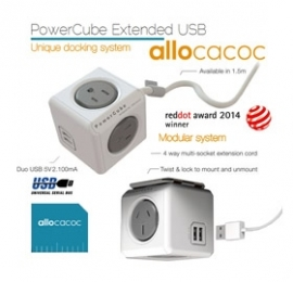 Allocacoc Powercube Extended Usb Powerboard 4-outlets 2 Usb Ports Grey-white 1.5m Eleaus5400aueupc