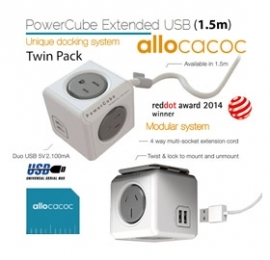 Allocacoc Powercube Extended Usb Grey 4 Outlets 2 Usb 1.5m With Cable (twin Pack) Eleaus5400aueupcx2