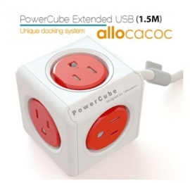 Allocacoc Powercube Extended Boston Red 5 Outlets With 1.5m Cable Elewes5300auexpc