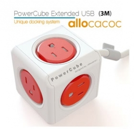 Allocacoc Powercube Extended Boston Red 5 Outlets With 3m Cable Elewes5304auexpc