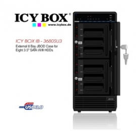 Icy Box (ib - 3680su3) External 8 Bay Jbod Case For 8 X 3.5 Inch Sata L/ Ll/ Lll Hdds Hddicy3680su3