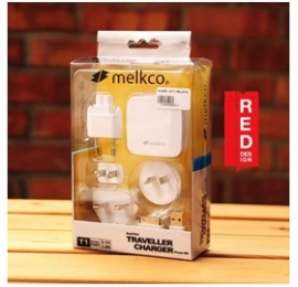 Melkco Traveler Charger (universal Power Adapters For Uk/ Au/ Us/ Eu) With 2 Usb Output Ports Mobinttravelpack