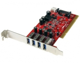 Startech 4 Port Pci Superspeed Usb 3.0 Adapter Card With Sata/ Sp4 Power - Quad Port Pci Superspeed