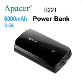 Apacer Mobile Power Bank B221 6000mah Black Rp Apacer B221b-1