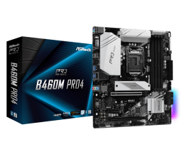 Asrock B460M PRO4 Motherboard Supports 10th Gen Intel Core Processors (Socket 1200) 9 Power Phase Design Supports DDR4 2933MHz