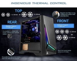 Antec Dp301M Matx Argb Front Led Tempered Glass Side Up To 6X 120Mm Fans Dust Filter Gaming Case