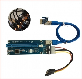 Cabac Pci-e Pci Express 16x Adapter Riser Card Extension Power Usb 3.0 Internal Cable - Used For
