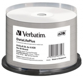 Verbatim Dvd+rdl 8.5gb 50pk Wide Thermal Print 8x 43754