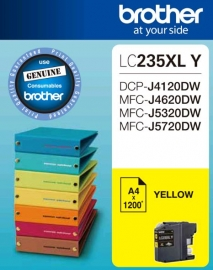 Brother LC-235XL Yellow Ink 1200 Page, J4120/ 4620/ 5720DW LC-235XLY
