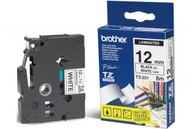 Brother 12mm Blk On White Tape Tze-231