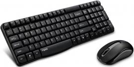 Rapoo X1800s 2.4ghz Wireless Optical Keyboard Mouse Combo Black - 1000dpi Nano Receiver 12m Battery