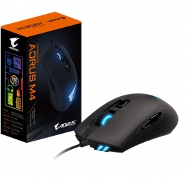 Gigabyte Aorus M4 Optical Gaming Mouse Usb Wired 6400 Dpi 1000Hz 98G 3D Scroll 50 Million Click Matte Black Rgb Fusion2.0 On-The-Fly Dpi Adjustment Gm-Aorus M4