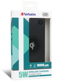 Verbatim Li-Polymer Qi 5W Wireless Charging Power Pack 10 000Mah - Black 65934