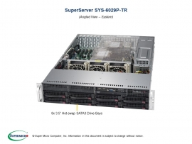 Supermicro Superserver 6029P-Tr 2U Rackmount Dual Socket Lga3647 16X Dimm Intel C621 2 X 1Gbe Impi