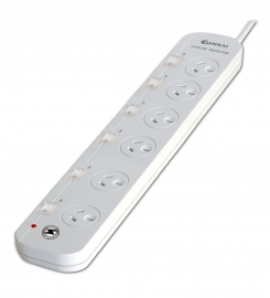 Sansai 6-way Power Board (661sw) With Individual Switches And Surge Protection Pad-661sw