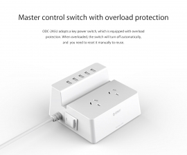 Orico Odc-2a5u (2 Ac Outlets With 5 Smart Charging Usb 40w Ports Surge Protector) Orico Odc-2a5u-au