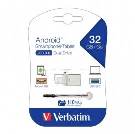 "Verbatim Store""N""Go Otg Micro Usb 3.0 Drive 32Gb Android Smartphone/ Tablet Dual Usb 64936"